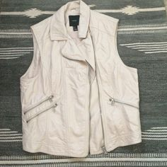 White Leather Vest Worn once but I decided it was to big Forever 21 Jackets & Coats Vests