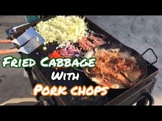 Life After Retirement ⚓️ Making fried cabbage was another way of trying to find the perfect dish to replace rice and potatoes. Thick Pork Chop Recipe, Pork Chop Recipes, Grilling Recipes, Cooking Recipes, Cooked Cabbage, Fried Cabbage, Outdoor Griddle Recipes, Flat Top Grill