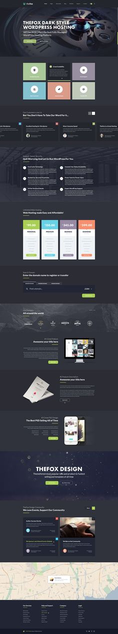 Hosting Homepage for TheFox PSD Template on Behance
