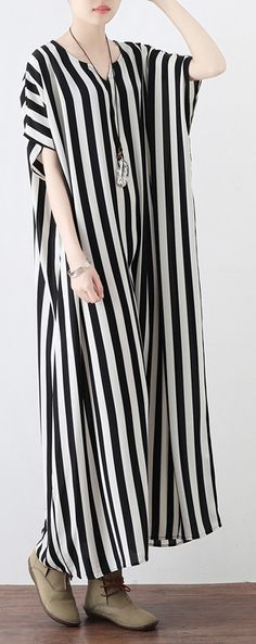 Fine black white striped long chiffon dresses plus size clothing tie waist chiffon gown Fine o neck dress Most of our dresses are made of cotton linen fabric, soft and breathy. loose dresses to make you comfortable all the time. Plus Size Sundress, Plus Size Dresses, Plus Size Outfits, Stripes Fashion, White Fashion, Plus Size Womens Clothing, Clothes For Women, Size Clothing, Flax Clothing
