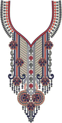 nigerian Neck / Gala Embroidery Design Border Embroidery Designs, Embroidery Suits Design, Machine Embroidery Designs, Embroidery Patterns, Flower Art Images, Salwar Neck Designs, Collar Designs, Fashion Design Drawings, Sewing Stitches