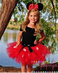 minnie mouse costume - adapt for an adult: black shirt, red tutu and knee highs