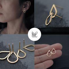 Small droplette Vermeil or Silver stud earrings by Minicyn on #Etsy