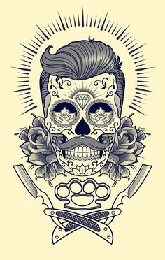 Tattoo sketches, tattoo drawings, sleeve tattoos, skull tattoos, body art t Barber Logo, Barber Tattoo, Barber Shop, Tattoo Old School, Tattoo Studio, Tattoo Sketches, Tattoo Drawings, Desenhos Old School, Dessin Old School