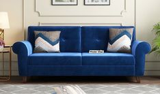 Shop blue fabric sofa online at flat 27% OFF from WoodenStreet. #fabricsofa #fabricsofas #fabricsofaset #fbricsofasets