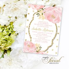 Floral Holy Communion Invitation - Personalized Custom Peony Flowers Pink Gold Polka Dot Botanical Romantic Printable Party Invite by SimplySocialDesigns on Etsy https://www.etsy.com/au/listing/254898835/floral-holy-communion-invitation
