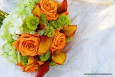 Bridal Bouquet in Bright Oranges and Greens - The French Bouquet - Encre Photography