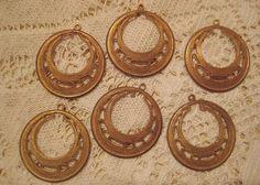 3 Pair Vintage Brass Filigree Hoop Drops by StarPower99 on Etsy, $3.90