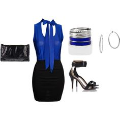 """""""BLACK AND BLUE"""" by paulette-lanni on Polyvore"""