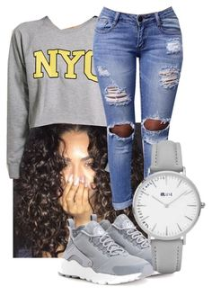 """Grey // "" by theofficialjesss ❤ liked on Polyvore featuring NIKE and Topshop"