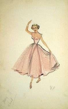 Edith Head vintage costume design sketch for Marge Champion in Mr. Vintage Fashion Sketches, Fashion Illustration Vintage, Illustration Mode, Fashion Design Sketches, Fashion Illustrations, Fashion Drawings, Vintage Outfits, Vintage Dresses, 1950s Style