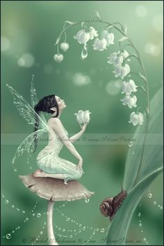 Lily of the Valley Flower Fairy by Rachel Anderson - see more art at silverstars.us