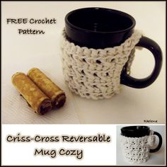 """Criss-Cross Reversible Mug Cozy ~ FREE Crochet Pattern~ Bernat Handicrafter, size H hook ~ also acts as a coaster to protect table ~ 3 1/4"""" dia."""