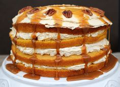 Pumpkin Layer Cake with Fluffy Cream Cheese Filling and Caramel Drizzle