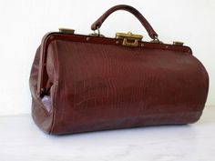 Beautiful Antique French Leather Doctor's Bag  by Decofanatique