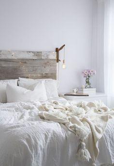 Reclaimed wood bedroom headboard