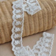 """2 Yards Off White Floral Lace, Wedding Bridal Lace Trim, 1.7"""" wide Embroidered Lace Trim, Wedding Invitation Lace, Item No.388 @Suppliestar"""