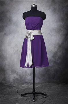 Great idea to tie in 2 colors-- dress could be a shade of purple, blue, or teal (not sure which) then belt would be another of the 3.... Bi-Color Chiffon A-line Belted Bridesmaid Dress