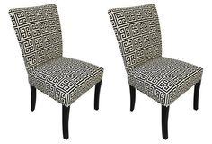 Black Chloe Side Chairs, Pair