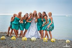 #Teal & Yellow bridesmaid dresses #yellow bouquets #large bridal party