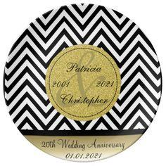 Black White Chevron. Gold 20th Wedding Anniversary