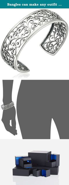 Bangles can make any outfit look more polished. This sterling silver cuff bracelet showcases a gorgeous vine motif openwork design. Polished and oxidized silver add depth and interest to the pattern. This is an eye-catching accessory that's easy to wear and will complement any outfit.