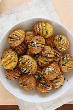 Mini Hasselback Potatoes with Chive Butter