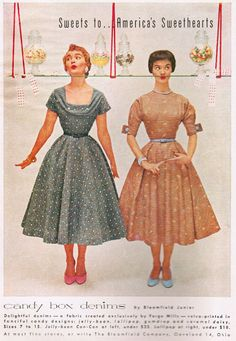Bloomfield Jr  Candy Box Denims dresses 1954 Glamour Magazine