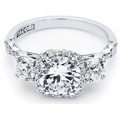 Tacori Dantela Collection 3 Stone Round prong Set and Round Pave Set Scalloped Engagement Ring with Cushion Halo and Sculptured Crescent Design