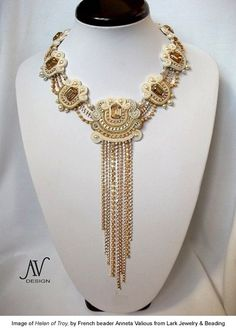 This lovely piece called Helen of Troy, by French beader Anneta Valious, is made with a technique called soutache. Jewelry Sites, Jewelry Crafts, Jewelry Art, Beaded Jewelry, Handmade Jewelry, Jewelry Design, Beaded Necklaces, Statement Necklaces, Soutache Necklace