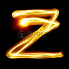 letter z: Z - Created by light alphabet over black background Stock Photo