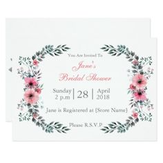 Meadow Spring Bridal Shower Invitation - invitations personalize custom special event invitation idea style party card cards