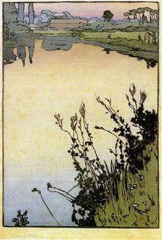 "Frank Morley Fletcher (1866–1949) - Meadowsweet. Woodblock Print. Circa 1897. 10"" x 6-3/4""."