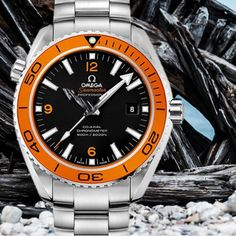The #Omega #seamaster #professional #watch for #him is an #amazing #luxury #wristwatch #swissmade for #active #sea #lovers made of #steel with an #automatic #movement and an #orange #bezel around the #black #dial and #large #indicators it is a #diving watch with #helium #escape #valve an #exceptional #design for #men by watchesoverview #omega #seamaster #watchesformen