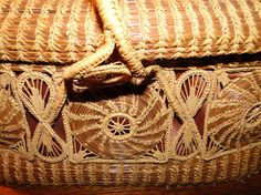 vintage pine needle and woven basket bag/ by LittleCityMercantile, $125.00