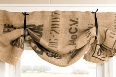 Valances made from burlap coffee bean bags