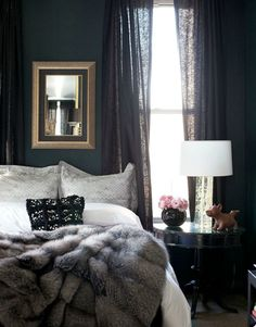 luxury bedroom, faux fur throw, gold, navy, black, white