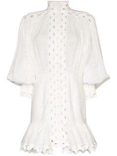 Zimmermann Ninety-Six wave-trim Mini Dress - Farfetch Mini Dress With Sleeves, White Mini Dress, Edgy Dress, Paisley Print Dress, Designer Cocktail Dress, White Silk, Printed Skirts, Silk Dress, Day Dresses