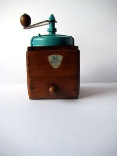Antique coffee grinder Peugeot Freres mill from France 1950s blue Retro Cottage chic.