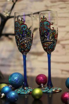 Купить или заказать Восточная роскошь в интернет-магазине на Ярмарке Мастеров. Пара бокалов под шампанское выполнены в техники роспись стекла станут стильной деталью вашего интерьера.Бокалы выполнены в технике витражная роспись,французскими высокопрочными красками.