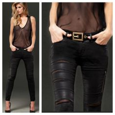D-ID #black #wax #mesh #skinny #jeans  {call denim habit 856.596.2121 to order}