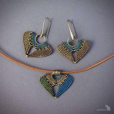 Set of macrame earrings and pedant handcrafted earrings
