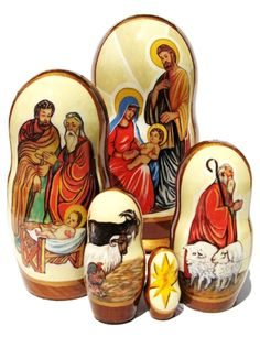 Nativity nesting dolls. Do any of our followers collect matryoshkas or Christmas-themed objects?