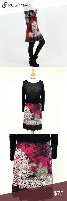 New! Desigual Red & Black Midi Skirt Knee Length S Brand new with tags! This is the beautiful Desigual Fal Joie Skirt from Spain in red, black, grey and white! Ultra femme lace print details and dainty black ribbon belt create a pretty look that's great in all seasons. Featuring a soft comfortable plush tee shirt fabric and elasticized waist this knee length midiskirt is perfect with strappy black heels or black boots and black top. Brand new with tags in excellent condition. Gorgeous…