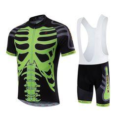 HOT SAIL SUN Men Green Skull MTB Cycling Clothing Summer bike Jersey Bib Shorts Outdoor Sports Pro team ropa  Bicycle Top wear #Affiliate
