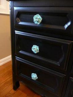 Aqua turquoise knobs black dresser