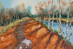 fall birch trees by the river lake by AlinaMadanPaintings on Etsy