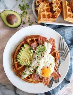 Savory Breakfast Waffles recipe with fried egg, bacon, avocado, and maple cream sauce Breakfast Waffle Recipes, Healthy Egg Breakfast, Breakfast Waffles, Brunch Recipes, Breakfast Cooking, Drink Recipes, Breakfast Hotel, Breakfast Ideas, Savory Waffles