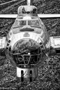 A B-17G in flight. I've always thought, since first seeing one as a child, that the B-17 was simply one of the most beautiful aircraft ever made, right up there with the Super Connie, Spitfire, and Mustang.