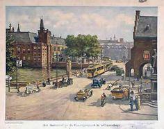 Oude schoolplaat van het Buitenhof en de Gevangenpoort